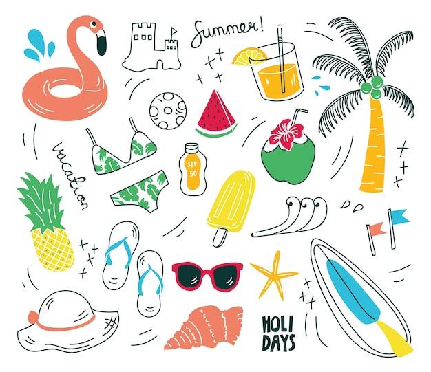 Cosas de la playa en la ilustración de vector de estilo doodle