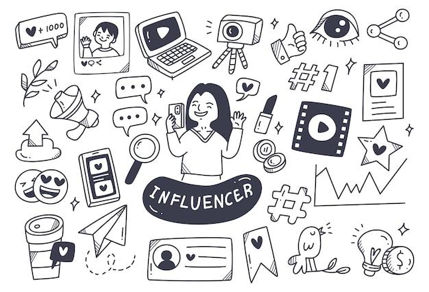 Cosas relacionadas con influencers en estilo doodle