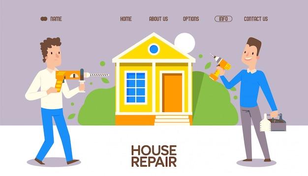 Cosas de reparación de casa con ilustración de herramienta especial. reunión de trabajadores cerca de las instalaciones, anuncio de aterrizaje para la orden de reparación en línea.