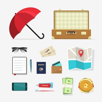 Cosas de viaje vector iconos