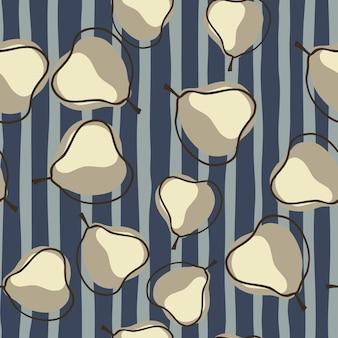 Cosecha de alimentos de patrones sin fisuras con adorno de elementos abstractos de pera