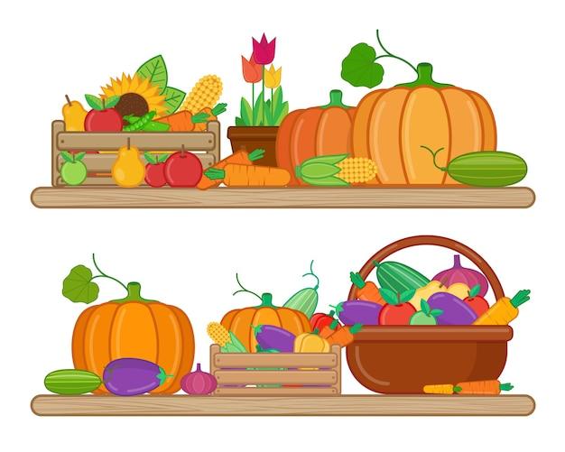 Cosecha frutas y verduras en estilo plano sobre fondo blanco.