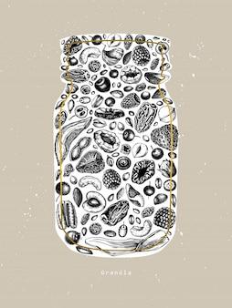 Cosecha de granola. ilustración de desayuno saludable estilo grabado. granola casera con diferentes bayas, cereales, frutos secos y marco de nueces. plantilla de comida sana con elementos dorados