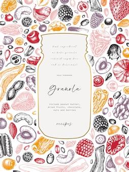 Cosecha de granola. ilustración de desayuno saludable estilo grabado. granola casera con diferentes bayas, cereales, frutos secos y marco de nueces. plantilla de comida sana con elementos grabados