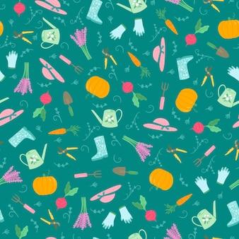 La cosecha y la jardinería hobby de patrones sin fisuras en fondo verde