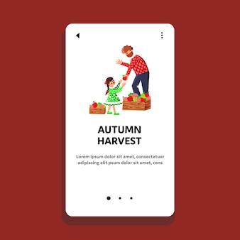 Cosecha de otoño manzanas ocupación familiar