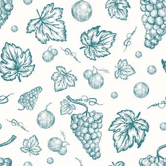 Cosecha de uvas otoñales dibujados a mano sin costura