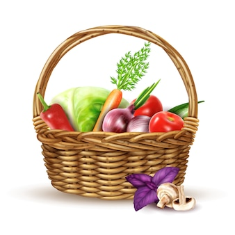 Cosecha de verduras cesta de mimbre imagen realista