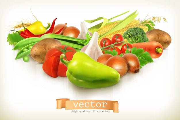 Cosecha de verduras jugosas y maduras ilustración aislada en blanco