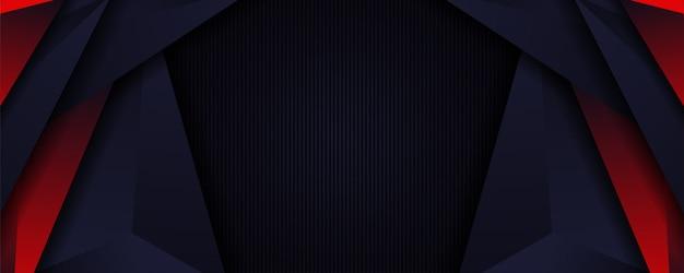 Cosechador azul oscuro moderno y fondo de banner de forma roja