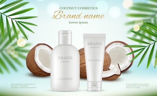 Cosmética de coco. cartel publicitario con tubos de crema y coco fresco y salpicaduras naturales de leche corporal realistas