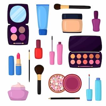 Cosmética facial moda mujer maquillaje hermoso piel colección profesional dibujado a mano aislado en blanco.