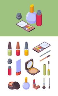Cosmética de maquillaje. artículos para mujeres de belleza paleta de colores maquillaje lápiz labial sombras lápices llamativas ilustraciones vectoriales isométricas. glamour de maquillaje isométrico, paleta de elegancia de moda y pomada