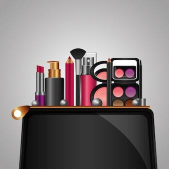 Cosmética maquillaje productos belleza moda conjunto