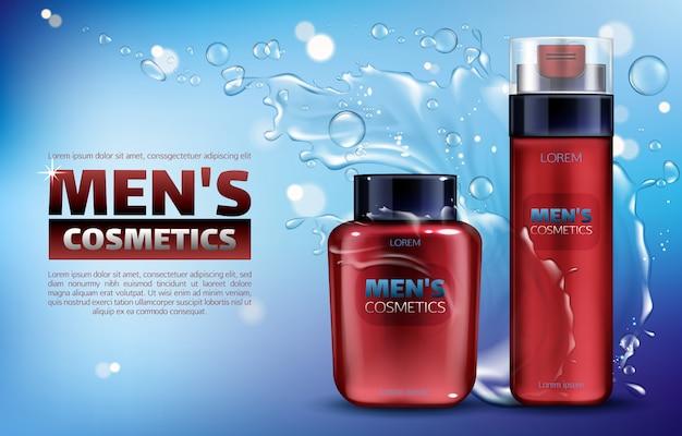 Cosmética masculina, espuma de afeitar y loción para después del afeitado. cartel de anuncios realistas en 3d.