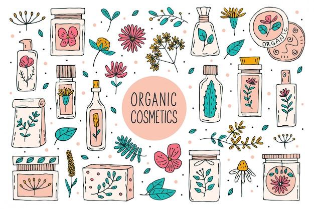 Cosmética orgánica natural con plantas doodle imágenes prediseñadas, gran conjunto de elementos.