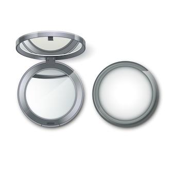 Cosmético de bolsillo redondo de metal plateado maquillaje pequeño espejo aislado