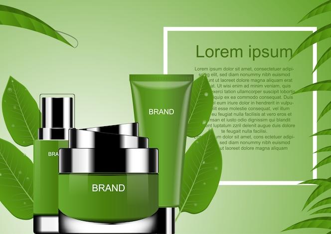 Cosmético con hojas verdes y marco cuadrado