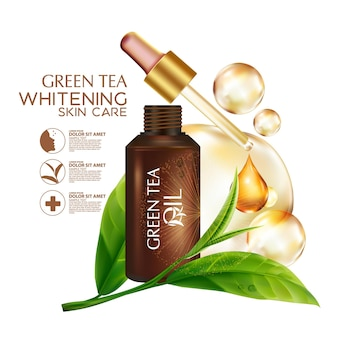 Cosmético de ilustración realista con ingredientes cosmético de cuidado de la piel de aceite de semilla de té verde
