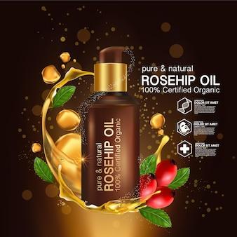Cosmético natural del cuidado de la piel de los orgánicos del aceite de rosa mosqueta