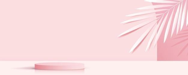 Cosmético sobre fondo rosa y podio premium para presentación de marca de producto.