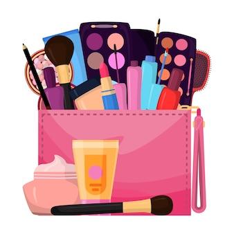 Cosméticos en bolsa, maquillaje lleno de color rosa con sombras de yeso, cremas y lápices labiales, diseño de ilustración plana