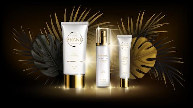 Cosméticos para el cuidado de la piel de verano, vector tropical