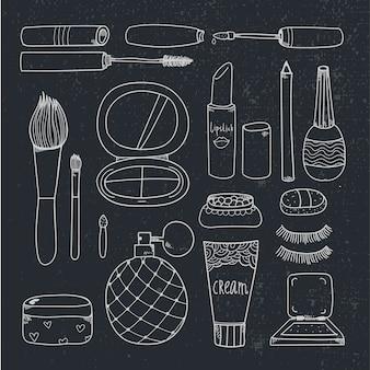 Cosméticos dibujados a mano componen herramientas ilustración esquema en blanco y negro
