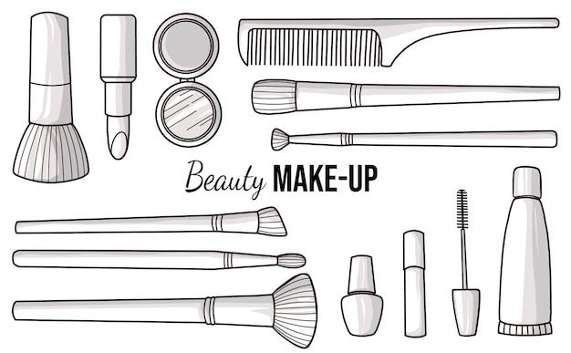 Cosméticos dibujados a mano y pinceles de maquillaje.