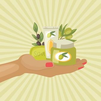 Cosméticos de frascos de aceite de oliva con aceitunas negras y verdes, jabón y crema a mano ilustración vintage.