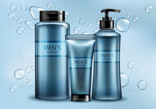 Los cosméticos para hombre del cuidado de la piel alinean la maqueta realista de la publicidad del vector 3d.