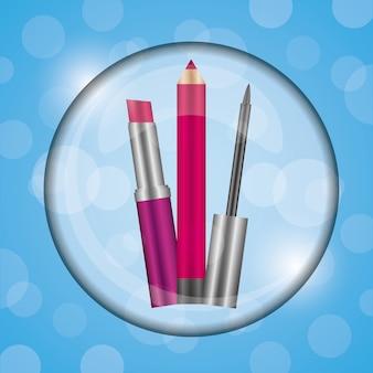 Cosméticos maquillaje lápiz labial líquido y delineador de labios