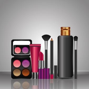 Cosméticos maquillaje loción cepillo lápiz labial sombra de ojos lápiz labial