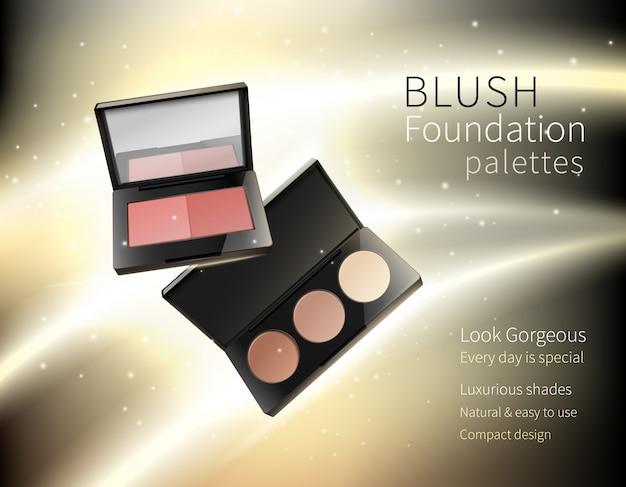 Cosméticos maquillaje realista publicidad composición