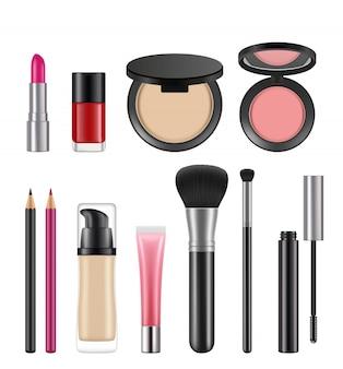 Cosméticos para mujeres. varios paquetes de cosméticos