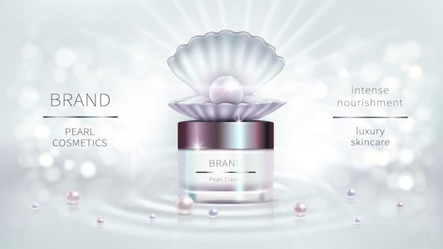 Cosméticos de perlas, diseño publicitario realista vector