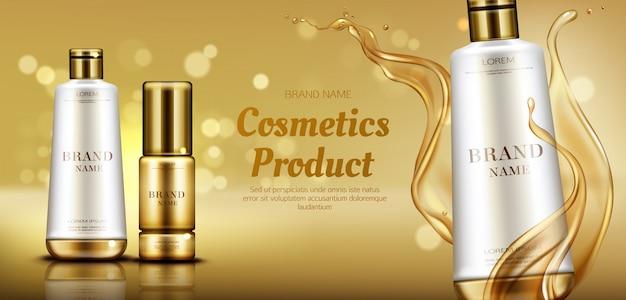 Cosméticos productos de belleza botellas publicidad banner
