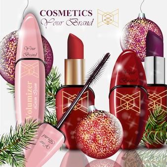 Cosmetics vector realistick. paquete de lápiz labial y máscara. fondo de bolas de navidad. productos coloridos detallados