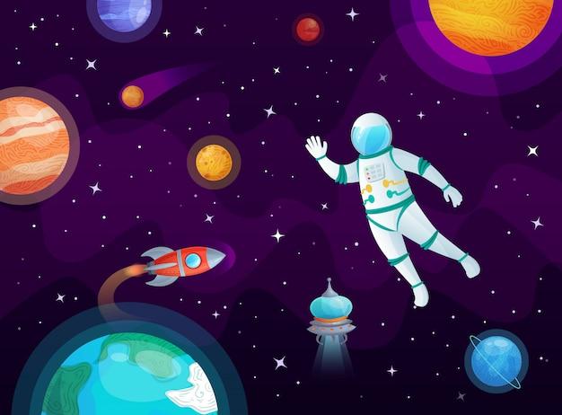 Cosmonauta en el espacio. cohete de astronauta en espacio abierto, planetas del universo e ilustración de dibujos animados planetarios
