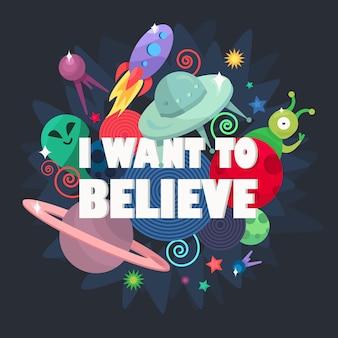 Cosmos concepto ovni. quiero creer. nave espacial, satélites, planeta y alienígena.