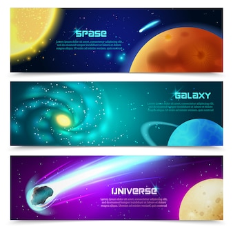 Cosmos galaxy banners set