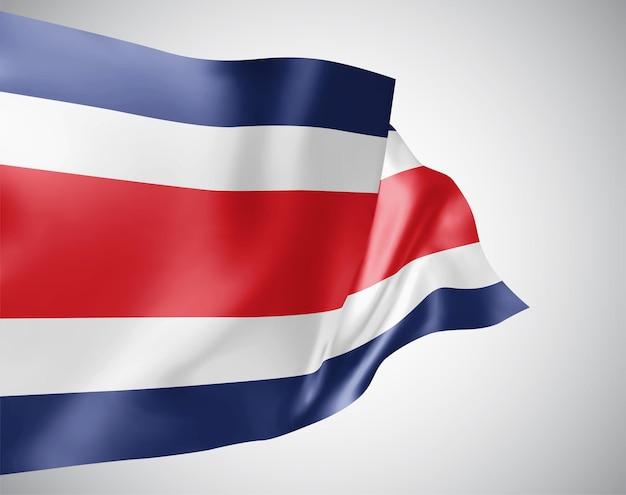 Costa rica, bandera de vector con olas y curvas ondeando en el viento sobre un fondo blanco.