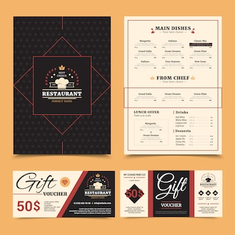 El costoso menú del restaurante con la selección de platos del chef y la tarjeta de cupones de regalo, con un elegante conjunto de fondo de pinboard