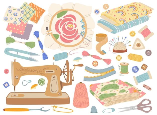 Costura accesorios de costura y equipo de bordado, telas, hilos, carretes, botones, conjunto de vectores