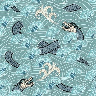 Sin costura asiática con dragón y olas
