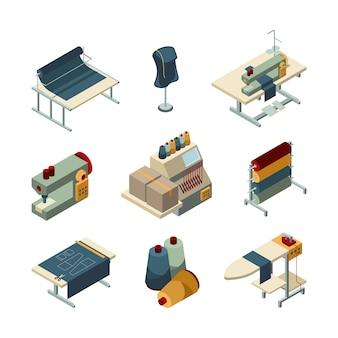 Costura isométrica. conjunto de imágenes de fabricación de textiles de producción de bordado de prendas de vestir