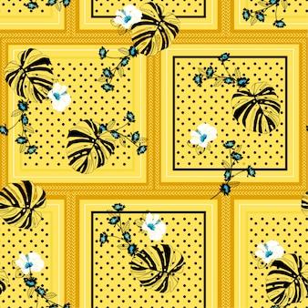Sin costura patrón bufanda lunares negros mezclados con hojas de monstera tropical