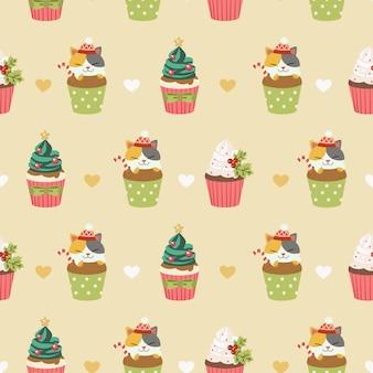 Sin costuras de cupcakes y lindos gatos con corazones