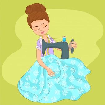 Costurera de mujer cosiendo en máquina