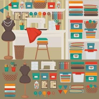 Costurera de trabajo: sastrería, máquina de coser.